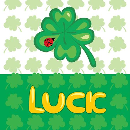 lucky clover,  card illustration Vector