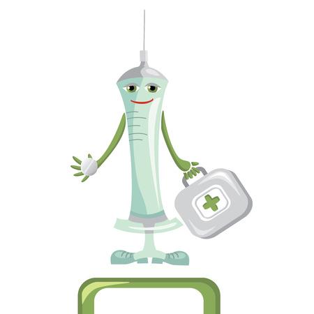 doctor tablet: cartoon medical syringe  illustration