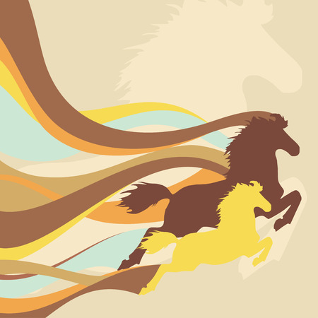 retro background with horses
