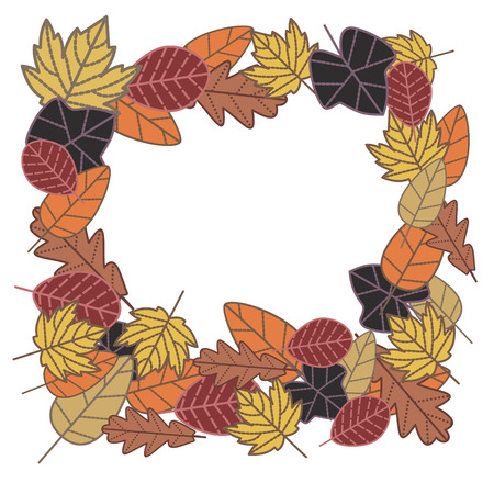 fallow: autumn frame made from  leaves
