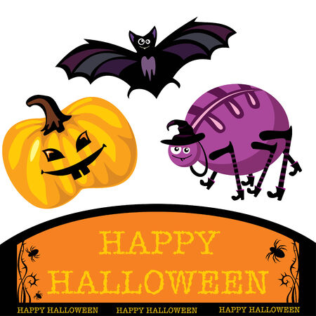 greeting card with cute halloween bat, spider and pumpkin Vector