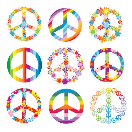 paz mundial: conjunto de s�mbolos de paz cute  Vectores