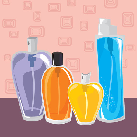 small collection of different perfumes illustration Vector