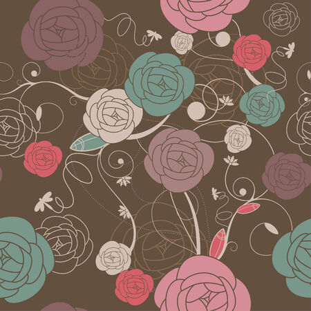 seamless romantic wallpaper with roses illustration Illustration