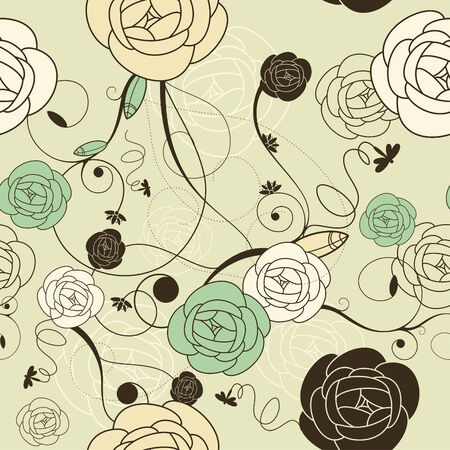 seamless romantic wallpaper with roses illustration Vector