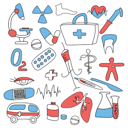 big collection of medical signs illustration Vector