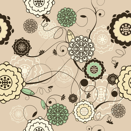 seamless background with roses and leaves Vector