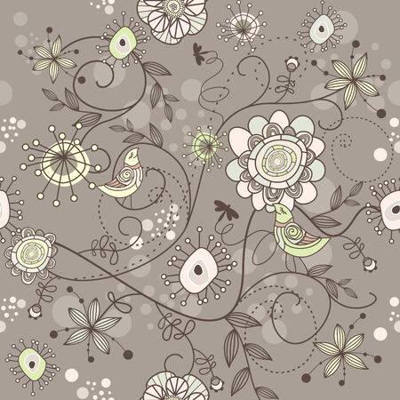 seamless floral background with flowers and birds Vector
