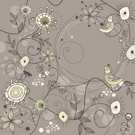 cute floral background with free place for your text Illustration
