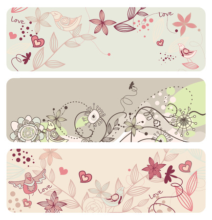 cute floral banners with funny birds Illustration