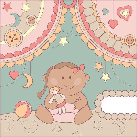 cute baby girl arrival card illustration Vector