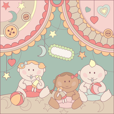 rags: cute arrival card with girls and boy Illustration
