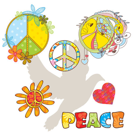 set of various peace symbols illustration