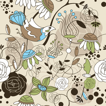 abstract seamless cute floral background with birds Vector