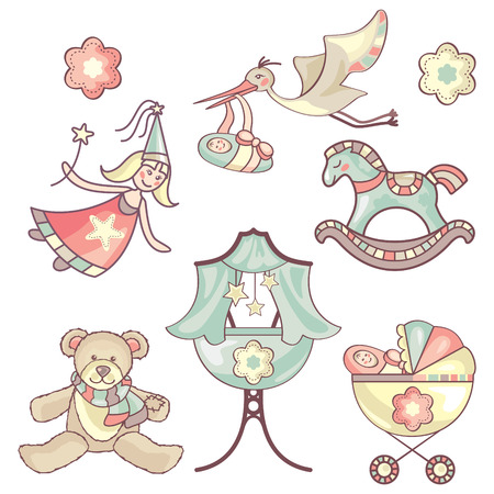 set of different baby products Illustration