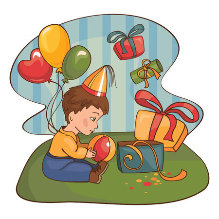 child with a birthday present  Stock Vector - 7404273