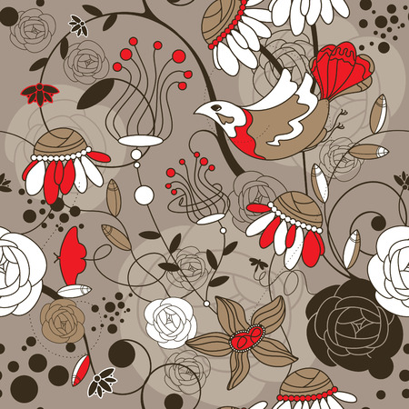 abstract seamless floral background with birds Vector