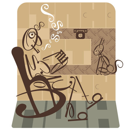 composition book: abstract man smoking a pipe   Illustration