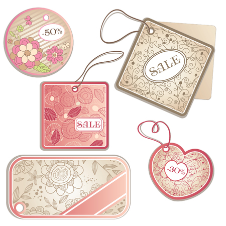 set of different discount tags