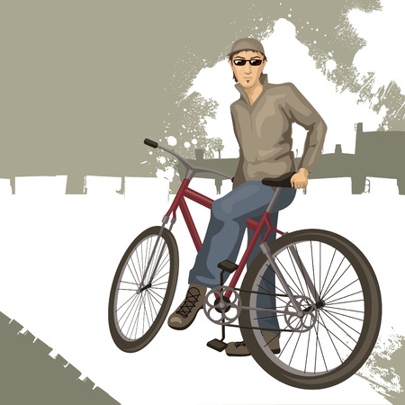 young man on a bicycle  Vector