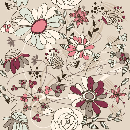 abstract seamless background with flowers  Illustration