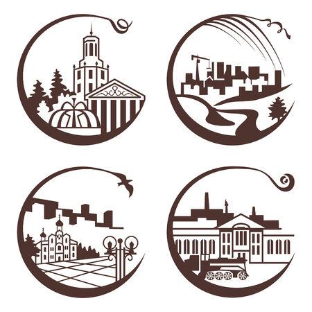 set of city graphic illustration Vector