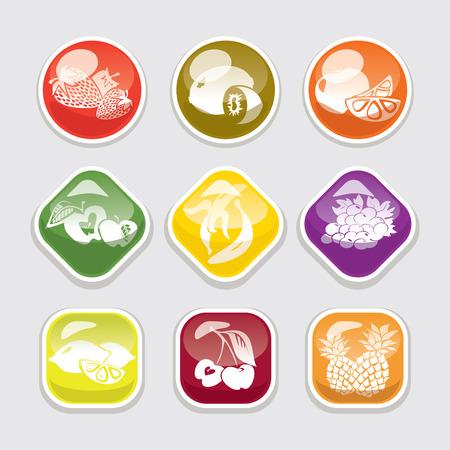abstract fruit: brillante fruta abstracta de botones