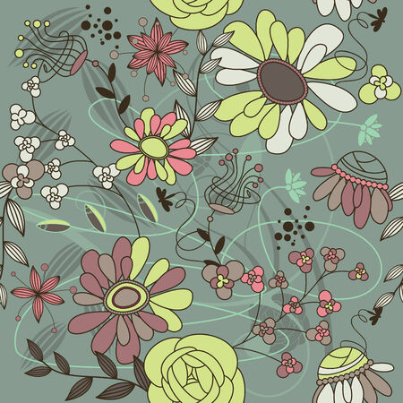 gentle: abstract seamless background with flowers  Illustration