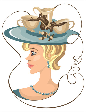 girl with a cup of coffee on her hat Vector