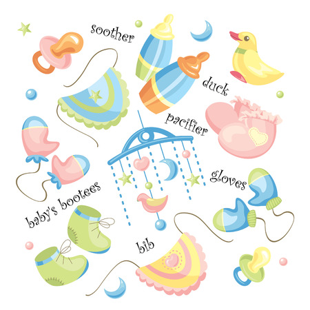 babywear: set of baby clothing and accessories