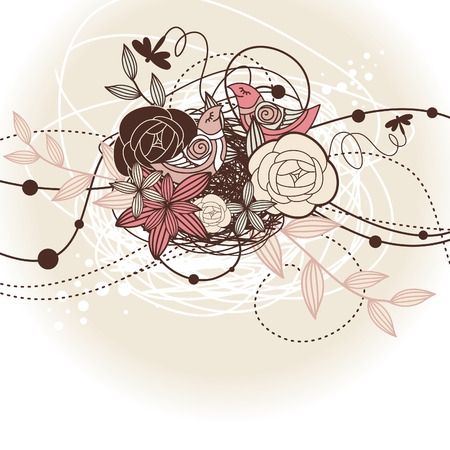 abstract cute floral background with birds