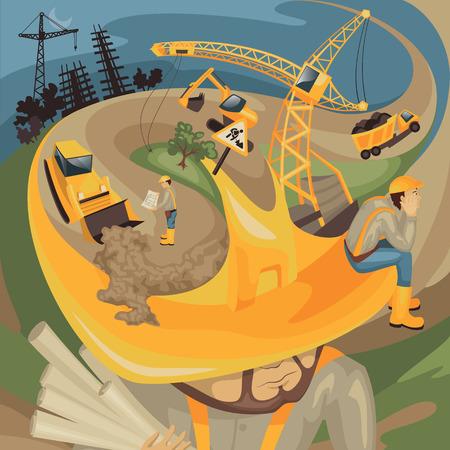 bouwkraan: Voortbouwend op de helm van de bouwer  Stock Illustratie