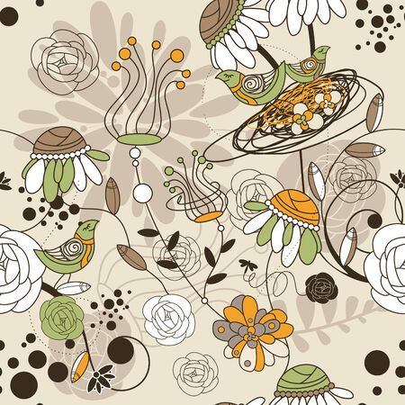 abstract seamless cute floral background with birds Illustration