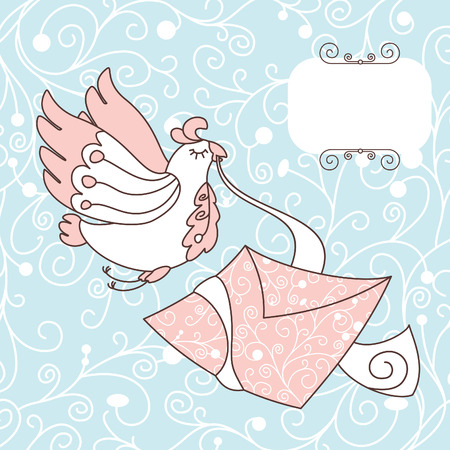 cute bird with a letter illustration Illustration