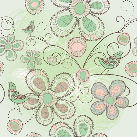 seamless floral background with birds illustration