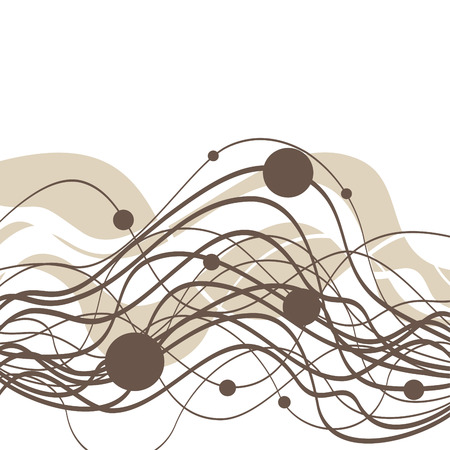 abstract background with waves and circles Vector