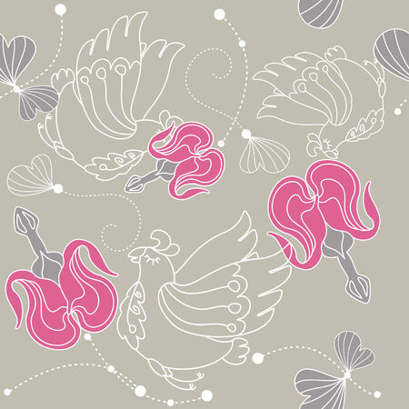 abstract seamless floral background with flowers and birds