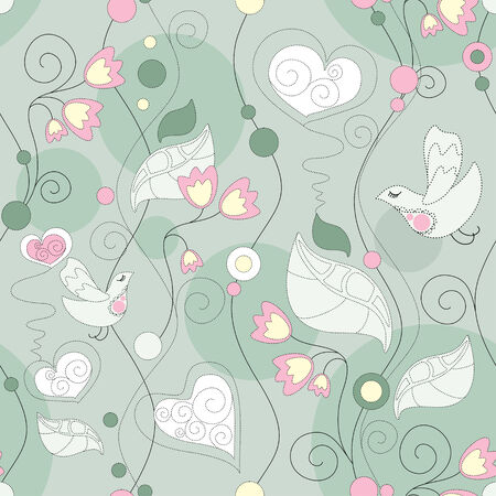seamless floral background with flowers and birds Illustration