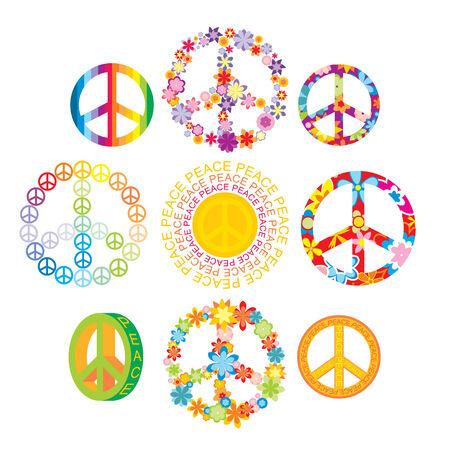 paz mundial: conjunto de ilustraci�n de s�mbolos de paz coloridos