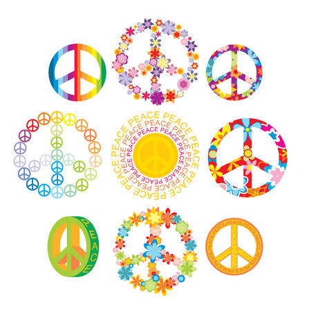 set of colorful peace symbols illustration Vector