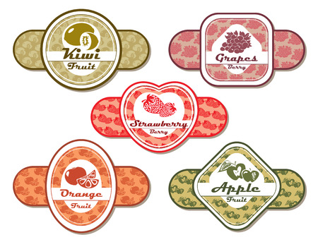abstract vector different labels for fruits and berries Vector