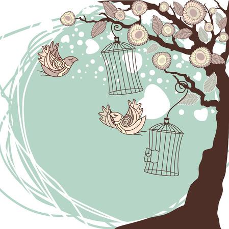gabbie: composizione floreale estate con battenti uccelli  Vettoriali