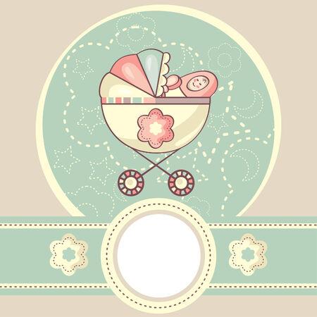 arrière-plan de bébé abstraite avec illustration de berceau
