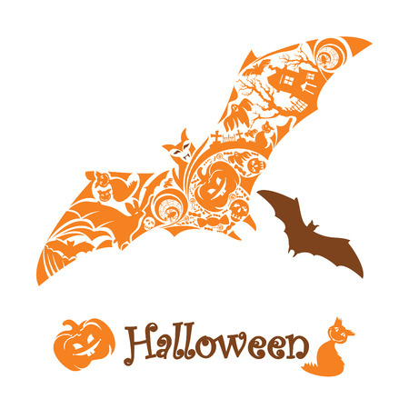 abstract cute halloween bat   illustration Stock Vector - 7920105