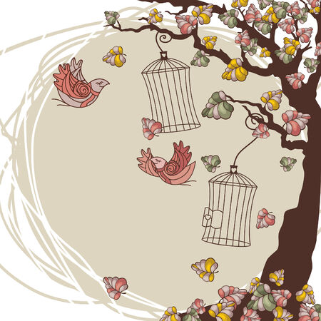 autumn composition with tree and birds Illustration
