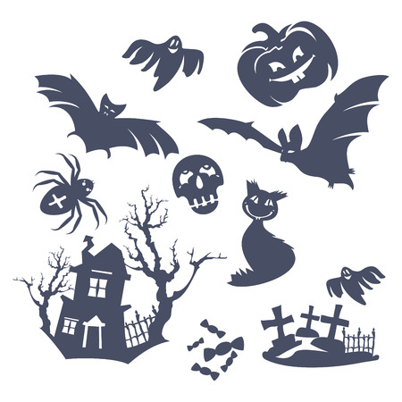 set of different   Halloween icons Vector