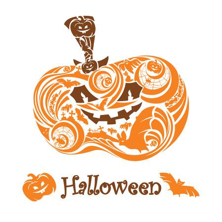 autumn cat: halloween pumpkin card   illustration Illustration