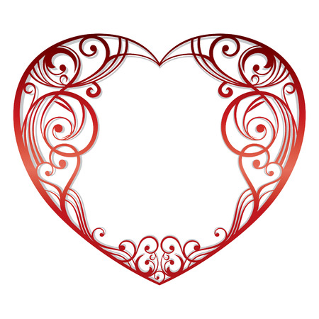 wedding card design: abstract heart on white background   illustration