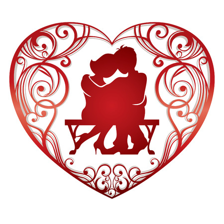 lovely couple: heart frame with lovely couple  illustration