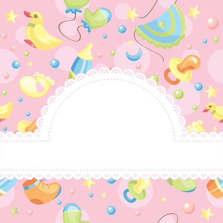 birth announcement: baby background illustration with free space for photo